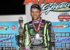 Bryan Clauson celebrates a win at Plymouth (Ind.) Speedway in May of 2016.