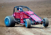 1987 USAC National Sprint Car champion Steve Butler of Kokomo, Indiana in action at the Terre Haute (Ind.) Action Track