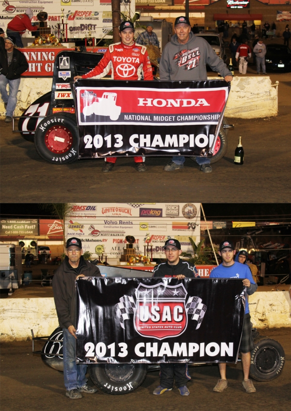Christopher Bell (top left) and Ronnie Gardner (bottom center) pose after winning their respective Honda USAC Midget Championships.