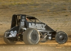 C.J. Leary came from 3rd to 1st on the final lap to win Friday night's USAC AMSOIL National Sprint Car feature at Indiana's Montpelier Motor Speedway.