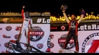 Justin Grant (left) and Robert Ballou (right) celebrate their USAC AMSOIL National Sprint Car victories last weekend at Eldora Speedway.