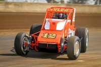 "Four-time ""Bettenhausen 100"" winner Brian Tyler in the Galas Motorsports #12 at Springfield."