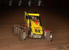 "R.J. Johnson pictured enroute to the ""Copper on Dirt"" Midget win at Peoria."