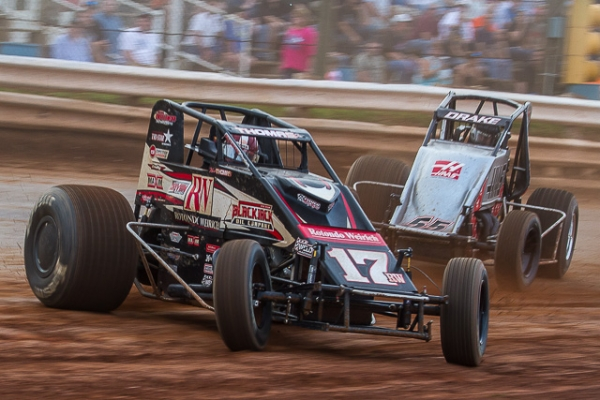 Kevin Thomas, Jr. (#17RW) raced to seven USAC AMSOIL National Sprint Car wins in 2013.