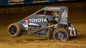 Cannon McIntosh captured his second career USAC NOS Energy Drink National Midget victory Friday night at Sweet Springs (Mo.) Motorsports Complex with a last lap, last corner pass.