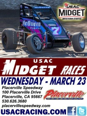 LARSON, SWEET SET FOR WESTERN MIDGET OPENER WEDNESDAY AT PLACERVILLE SPEEDWAY