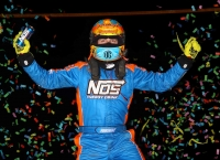 Tyler Courtney celebrates his second-straight USAC NOS Energy Drink National Midget victory Saturday night at Bubba Raceway Park.