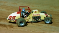 1981 USAC Silver Crown champion Larry Rice on the gas at the Hoosier Hundred.