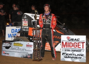 "Tanner Thorson celebrates a 2016 ""Indiana Midget Week"" victory at Lincoln Park Speedway."