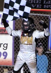 Chris Windom celebrates his USAC Silver Crown victory in June of 2016 at Pennsylvania's Williams Grove Speedway.