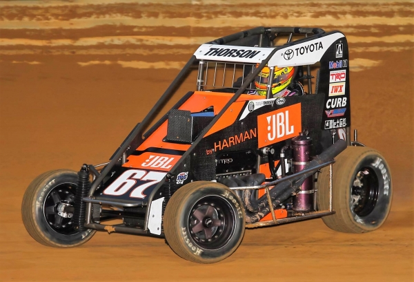 "Minden, Nevada's Tanner Thorson won Tuesday night's ""Pennsylvania Midget Week"" feature at Lanco's Clyde Martin Memorial Speedway with a last lap, last corner pass!"