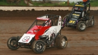 #8J Jonathan Beason leads USAC NOS Energy Drink National Midget action at Port City Raceway last year.