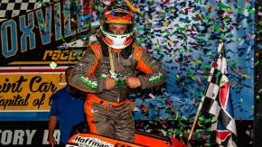 "Brady Bacon took home $20,000 for his win in Saturday night's Brandt Professional Agriculture ""Corn Belt Nationals"" at Knoxville Raceway."