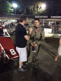 Chance Crum is interviewed before his victory at Deming.