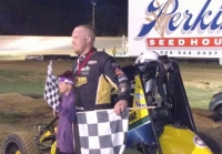 Andy Baugh in victory lane at Spoon River.