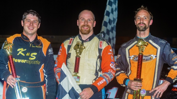 Winner Joe Krawiec is joined in victory lane by Will Hull (right) and Justin Phillips (left).