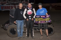Ronnie Gardner enjoys victory lane at Santa Maria.