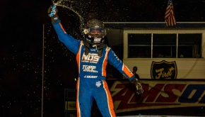 Justin Grant captured the victory in Friday night's Jim Hurtubise Classic at the Terre Haute Action Track.