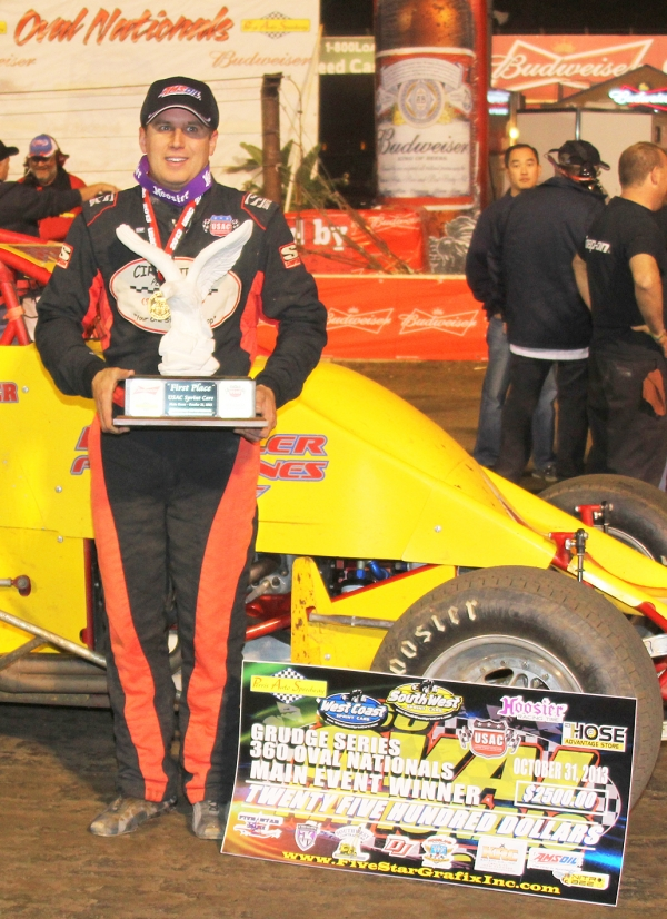 "Mike Spencer wins the ""Budweiser Oval Nationals"" 360 opener."