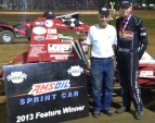 Chad Boespflug and car owner Paul Hazen after winning Thursday night at Lincoln Park Speedway.