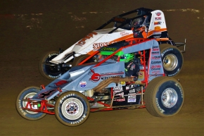 "Damion Gardner (silver) battles Richard Vander Weerd during the 2016 ""Oval Nationals"" at Perris."