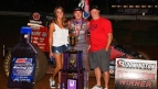 Kevin Thomas, Jr. celebrates Friday night's NOS Energy Drink Indiana Sprint Week victory at Bloomington Speedway.