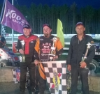 Winner Mike Chaffee is flanked by runner-up Ray Miller and third-place Dean Christensen after Saturday's DMA race at Bradford, VT/