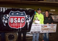 Jared Peterson poses in victory lane at Grays Harbor Raceway.