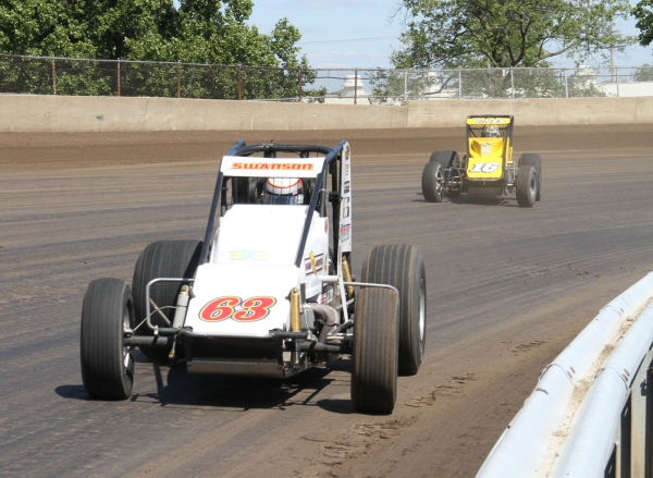 Kody Swanson leads Tracy Hines during the Springfield race.