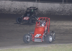 "Tanner Thorson (67) passed Zach Daum (5D) on lap 39 to win Saturday's $10,000 ""Gold Crown Midget Nationals"" at Tri-City Speedway in Granite City, Illinois."
