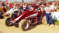 1988 USAC Silver Crown champion Steve Butler prior to the start of the 4-Crown Nationals at Eldora Speedway.