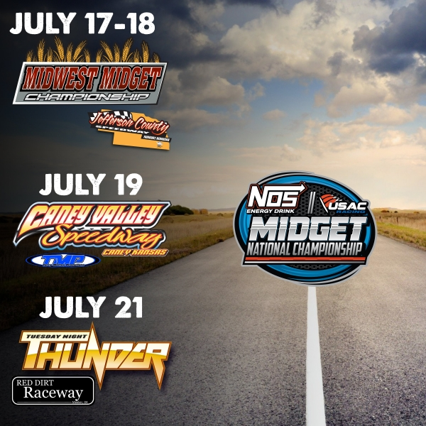 MID-AMERICA USAC NOS ENERGY DRINK NATIONAL MIDGET SWING ARRIVES JULY 17-21