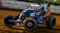 Chris Windom (#5G) won the USAC AMSOIL National Sprint Car Midwest finale in 2016 at the Terre Haute (Ind.) Action Track where the series returns this Friday night, Oct. 11, for the Wabash Clash.