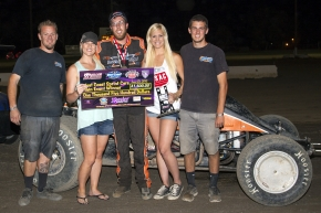 Richard Vander Weerd celebrates in victory lane Keller Auto Speedway at Kings Fairgrounds.