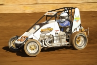 #33 Davey Ray won Saturday night's USAC Indiana Midget Championship feature at Boswell, Indiana's Daugherty Speedway.
