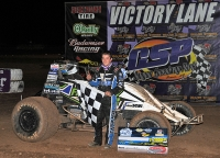 Brady Bacon in victory lane at Peoria, AZ Friday.