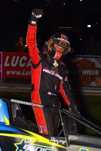 Dave Darland celebrates following his 60th career USAC AMSOIL National Sprint Car victory at Bloomington (Ind.) Speedway on April 27.