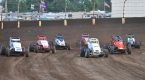 Kokomo Speedway USAC AMSOIL National Sprint Car action.