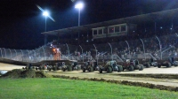 USAC AMSOIL National Sprint Cars salute the crowd at Lawrenceburg (Ind.) Speedway.