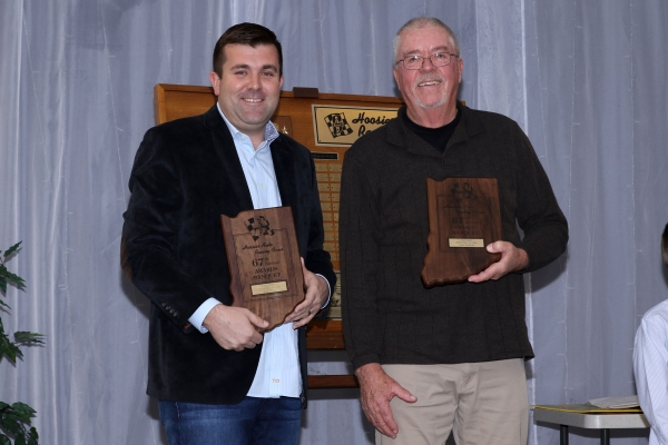 Levi Jones (left) and John Mahoney proudly hold their HARF Hall of Fame Class of 2018 awards.