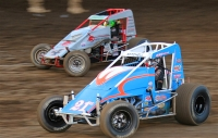 #21AZ Matt Mitchell and #4 Damion Gardner battle for position Saturday at Perris.