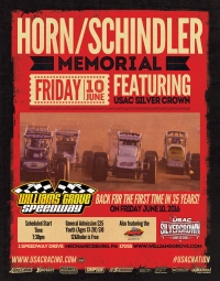 "SILVER CROWN TACKLES ""THE GROVE"" FRIDAY FOR THE 100-LAP ""HORN-SCHINDLER MEMORIAL"""