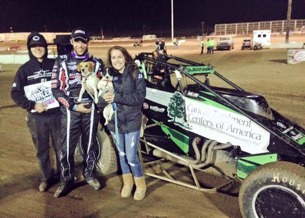 Bryan Clauson in victory lane at Canyon Speedway - Jan. 29, 2016.