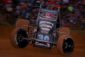"C.J. Leary captured his first USAC AMSOIL National Sprint Car feature win of the year Friday at Bloomington Speedway in round six of NOS Energy Drink ""Indiana Sprint Week."""