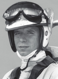 A young Larry Rice prepares for racing action.