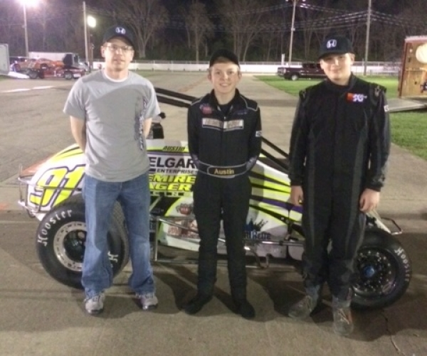 Winner Austin Nemire is flanked by runner-up Tate Martz (l) and Jacob Stickle in victory lane at Xenia.