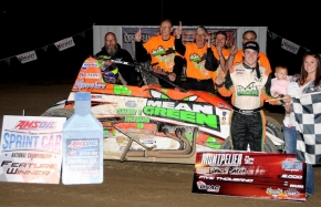 Brady Bacon and the Hoffman Racing crew in victory lane after Saturday night's victory at Montpelier (Ind.) Motor Speedway
