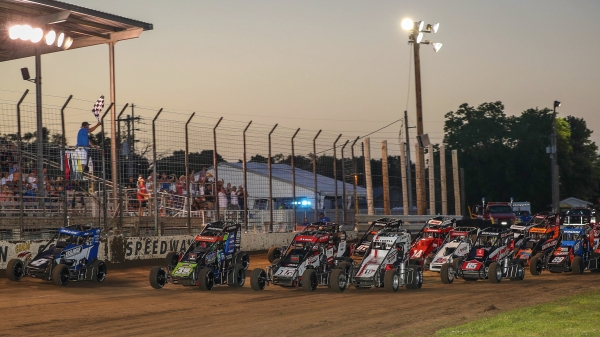 USAC NOS Energy Drink National Midgets salute the crowd at Jefferson County Speedway in Fairbury, Neb. during the 2020 season.