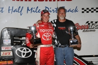 Christopher Bell and Keith Kunz celebrate after winning at Belleville.