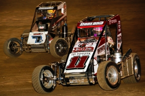 "Dave Darland and Tyler Courtney battle for position during the ""Kokomo Grand Prix"" in April."